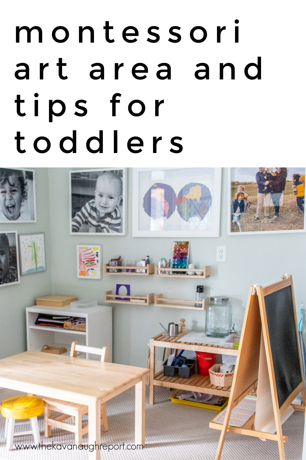 A look at our art area in our Montessori home and some tips on how to balance the space for toddlers and older children including preschoolers.