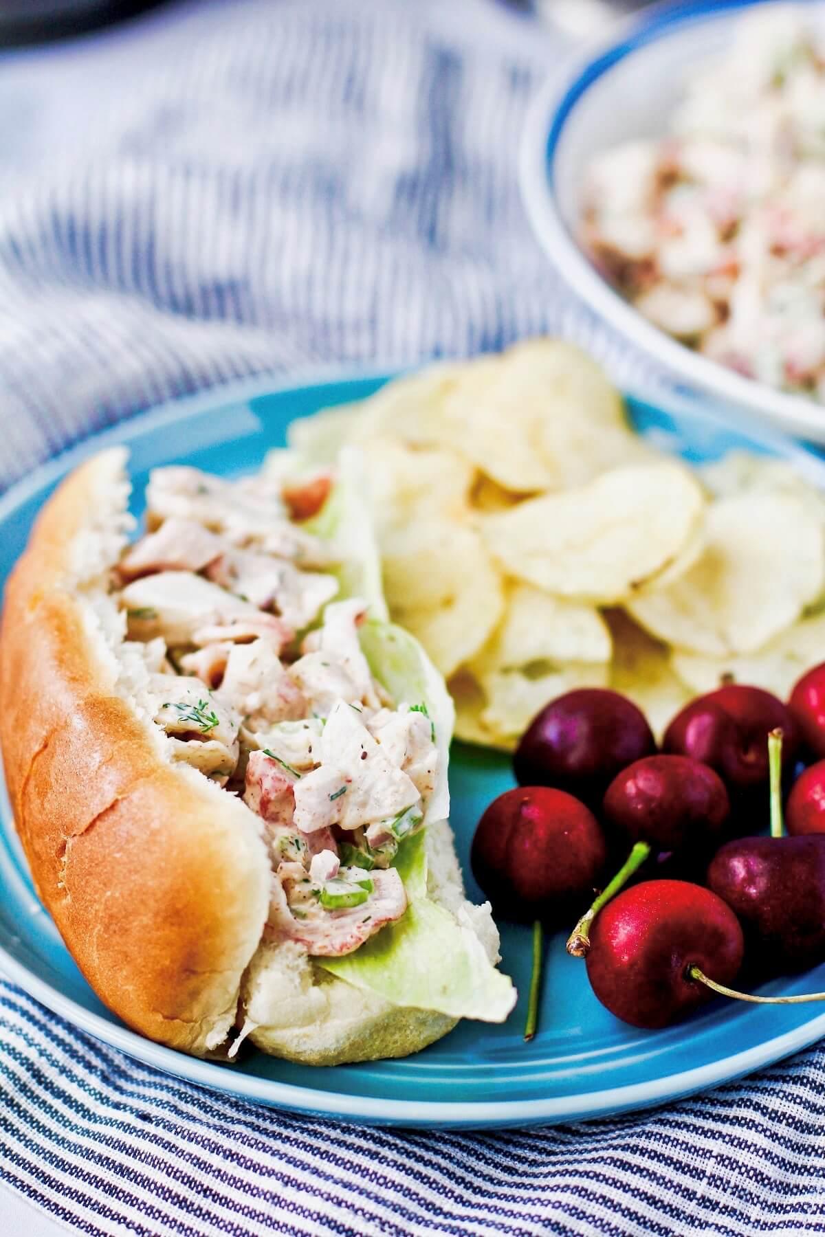 Imitation crab salad in a hot dog bun.