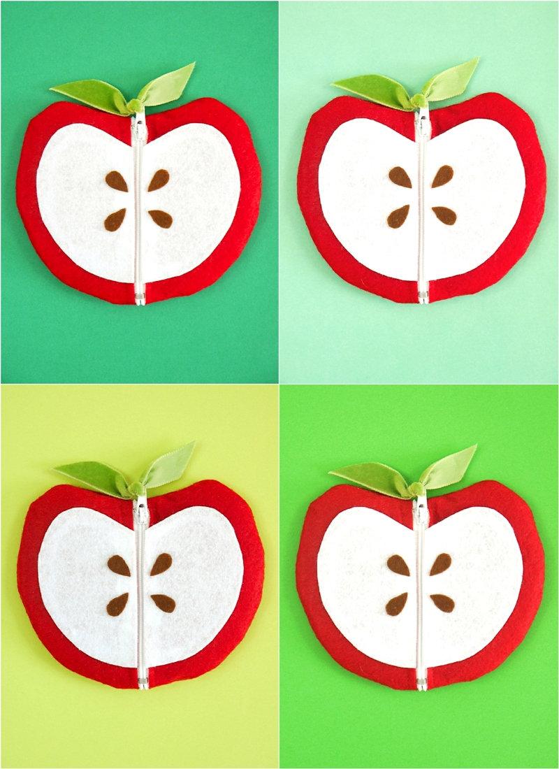 DIY Pochettes Zippées en Forme de Pomme - projet créatif facile pour la rentrée! Idéal cadeau pour enseignantes ou à glisser dans son cartable! by BirdsParty.com @birdsparty #diy #projetcreatif #pommes #rentree #diyrentree #pochettezippee #diypochette #portemonnaie