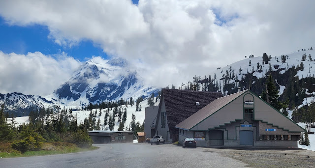 View of the lodge at Mt. Baker and the beautiful view of Mt. Shuksan