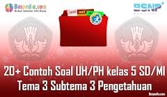 Lengkap - 20+ Contoh Soal UH / PH untuk kelas 5 SD/MI Tema 3 Subtema 3 Pengetahuan