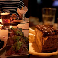 tacos, cerveza, hamburguesa y cheesecake