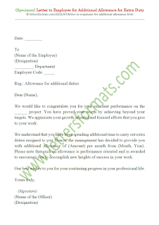 sample letter of additional allowance to employee