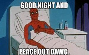 Funny Spiderman Good Night Meme, Photo