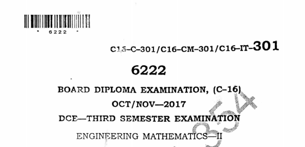 Sbtet Engineering Mathematics-2 Previous Question Paper c16 civil Oct/Nov 2017