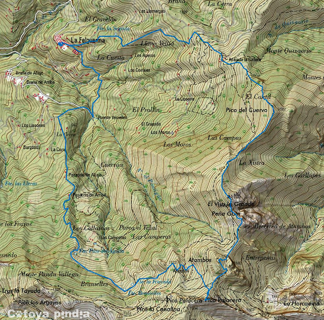 Map IGN con la ruta al Visu la Grande desde la Felguerina en el Parque Natural de Redes