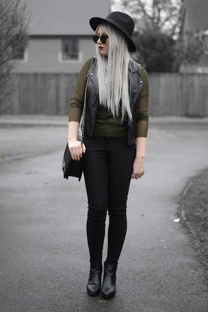 Sammi Jackson - Primark Fedora, Zaful Sunglasses, Aliexpress Faux Suede Choker, Choies Green Mesh Top, Primark Faux Leather Vest. Topshop Joni Jeans, OASAP Quilted Bag, Topshop Alexy Boots