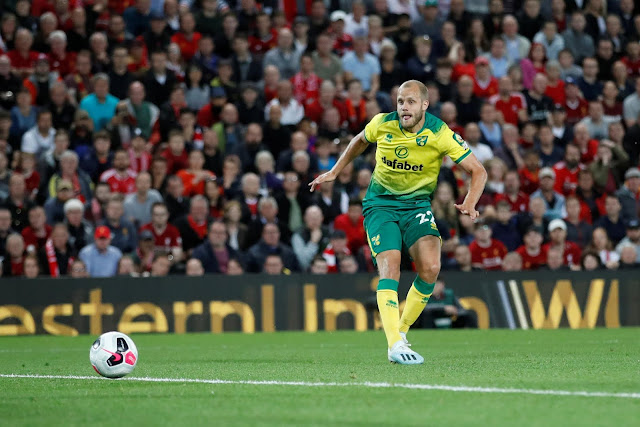 Teeu Pukki scored Norwich's only goal against Liverpool in the Premier League season opener