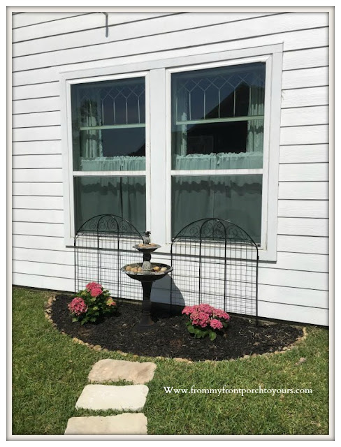 DIY-Flower- Bed-Pink-Hydrangeas-bird-bath-trellis- From My Front Porch To Yours