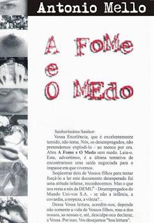 Capa de A Fome e o Medo, de Antonio Mello