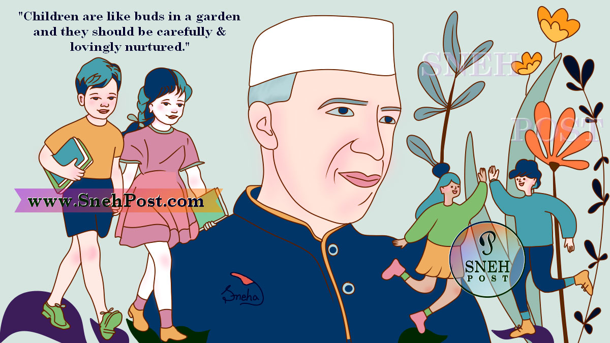 Popular Children's Day Celebration Events in India: Children's Day quote illustration of Pandit Jawahar Lal Nehru and kids! A boy and girl with books going to school, holding hands of each other and on ther side, kids greeting high-five around Chacha Nehru AKA Pandit Nehru