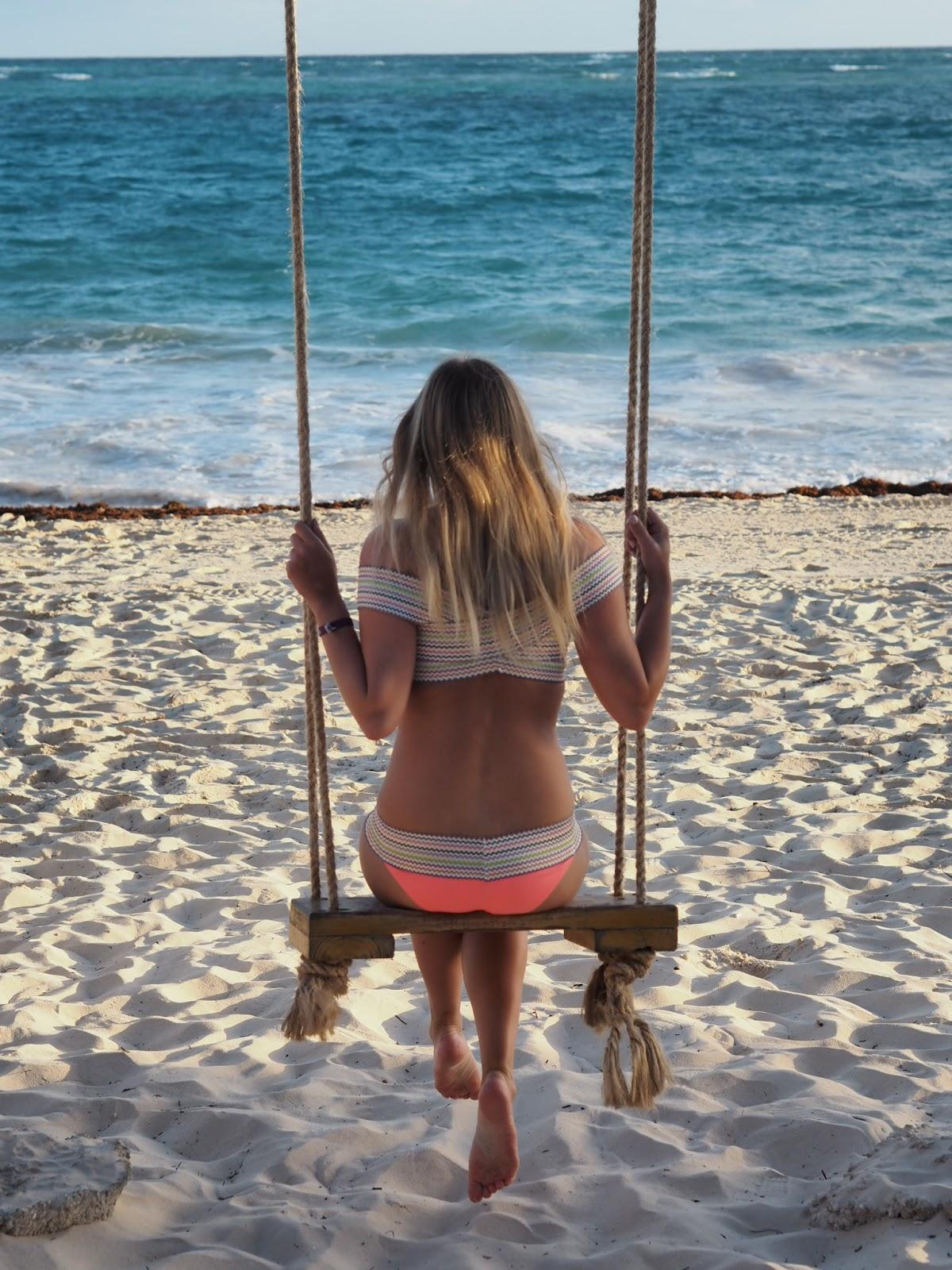 Rachel Emily on Beach Swing looking out to sea - River Island Bardot Bikini