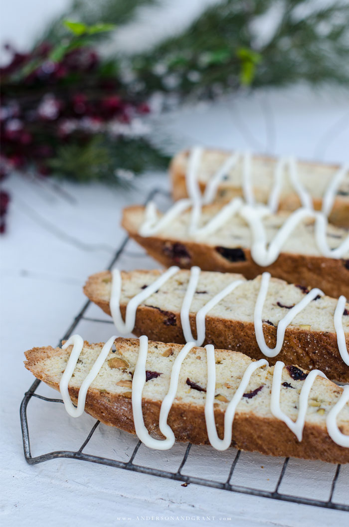 Christmas biscotti with white chocolate drizzle