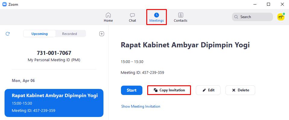 Cara Mengundang Orang atau Partisipan Untuk Ikut Meeting