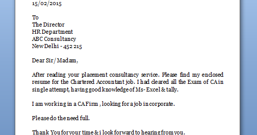 Cover Letter For Fresher Chartered Accountant | Sample ...