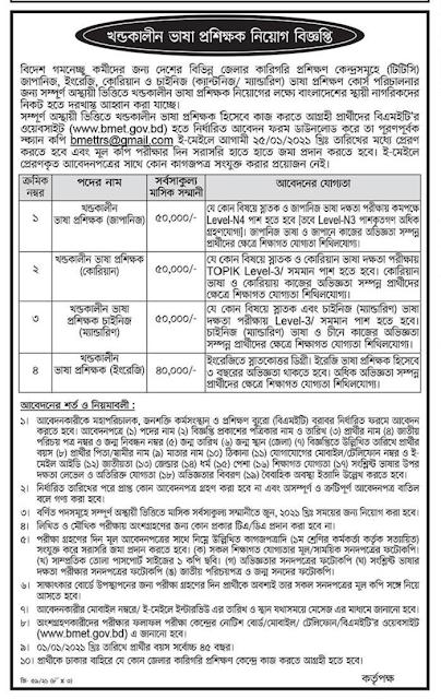 Bureau of Manpower Employment and Training Job Circular 2021