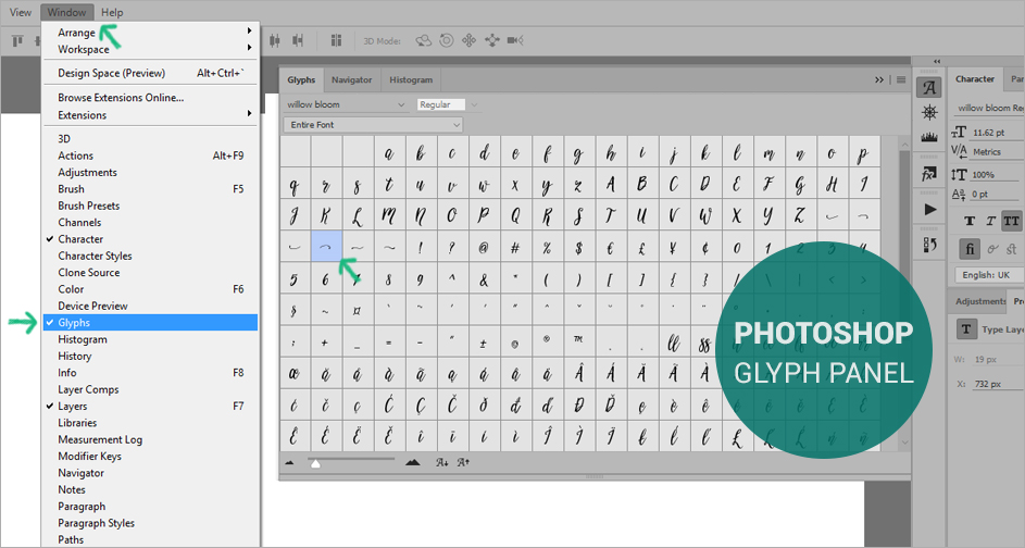 Access Font Swashes In Photoshop Mac Font Book Pc Character Map