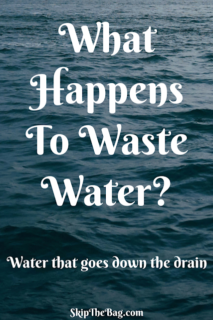 What happens to water that goes down the drain to a water treatment facility?