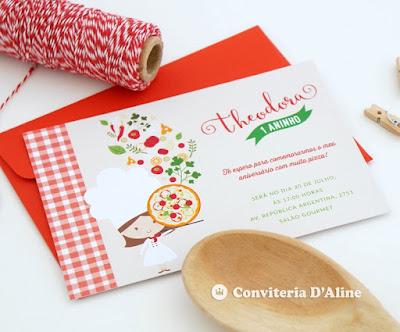 convite pizzaria aniversario infantil personalizado