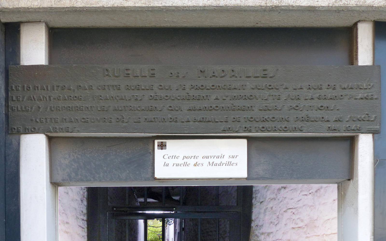 Plaque Lecaillon - Accès Ruelle des Madrilles, Tourcoing.