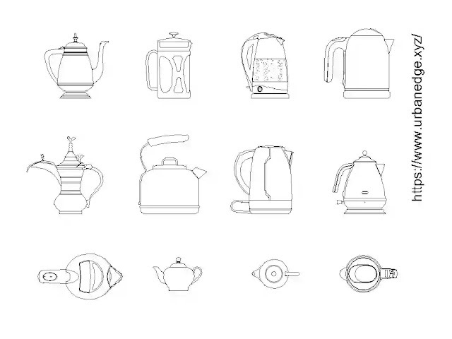 Teapot Kettle cad blocks download - 10+ dwg models