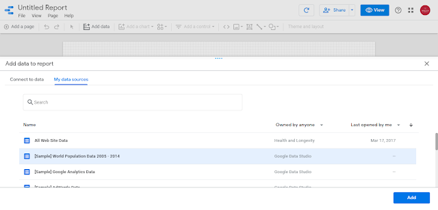 Google Data Studio Add data source to a report