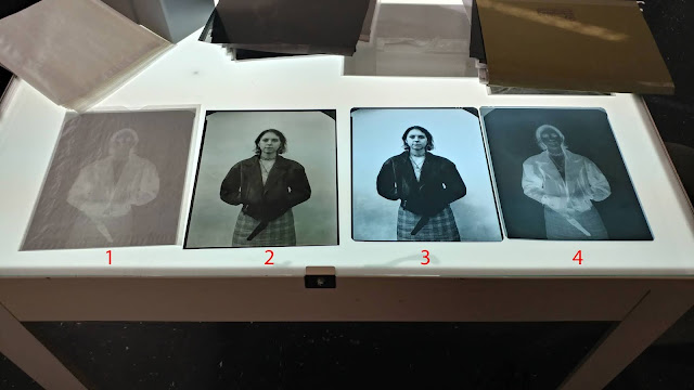 1: Original in camera negative (old Ilford FP4, 2: Positive transparency made by contacting (1) with Litho Film, 3: X-ray duping film copy made from Lith transparency (2) as original, 4: X-ray duping film copy made from (1) as original.