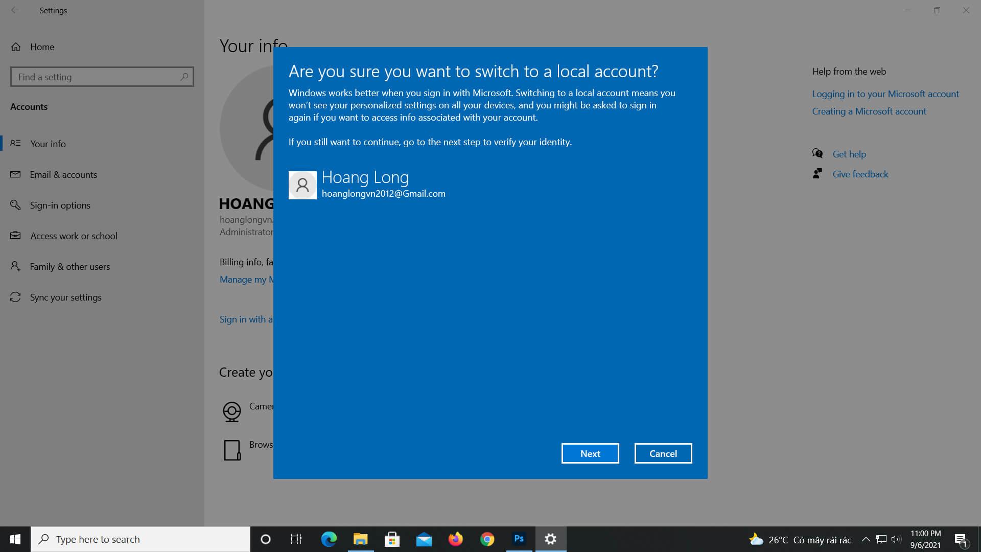 Bỏ mã pin - đổi mã pin khi đăng nhập Win 10
