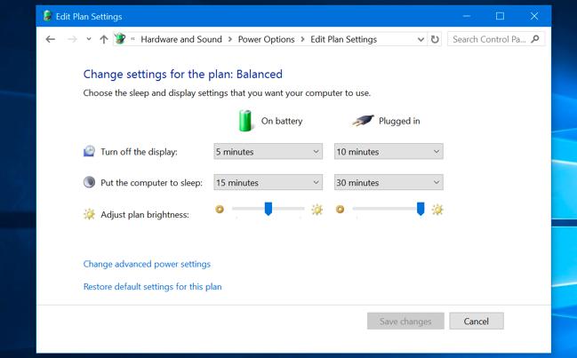 تحرير إعدادات خطة الطاقة في لوحة تحكم Windows 10.