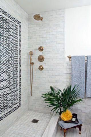 mosaic tiles floor shower bathroom decor