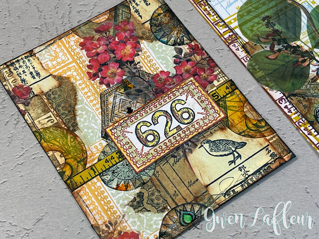 Mixed Media Collage 1 with EGL19-21 Stamps and DIY Stickers - Gwen Lafleur