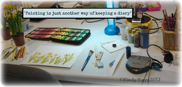 Artist Space, Creative clutter, mixed media painting tools, Cindy Rippe, Daffodil Mixed Media Painting