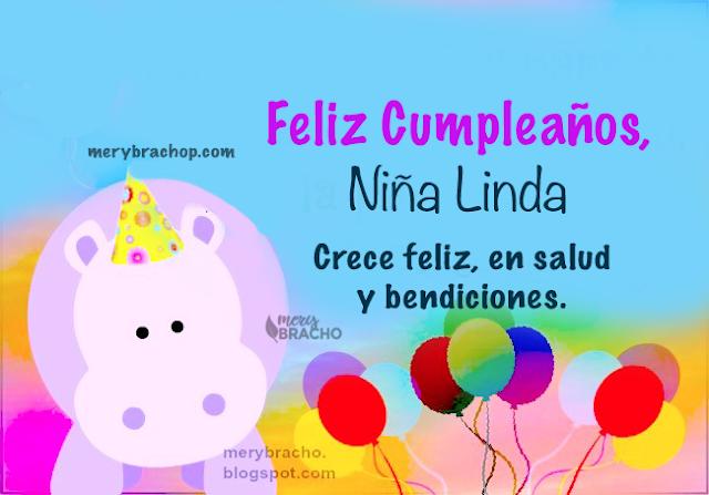 bella imagen infantil con frases de cumpleaños para niña por Mery bracho