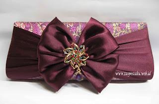 Tas Pesta Clutch Bag Handmade Ungu Cantik Merah Mewah