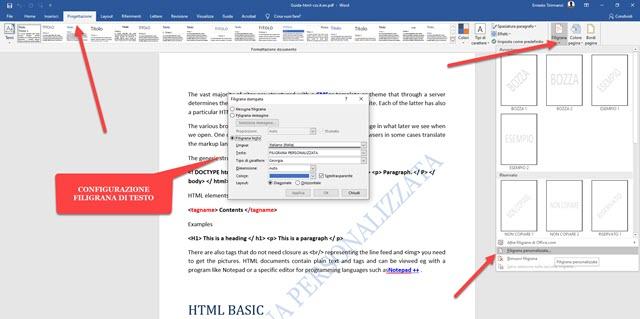 aggiungere filigrana a pdf con word