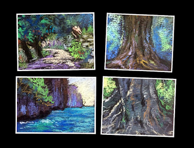 Creating thumbnail sketches/ preliminary study works of forest and nature scenes by Manju Panchal
