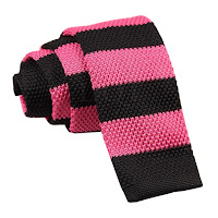MENS KNITTED HOT PINK AND BLACK STRIPED TIE