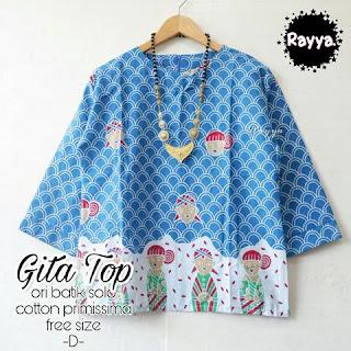 Blouse Batik Gita TOP Katun Primissima Biru