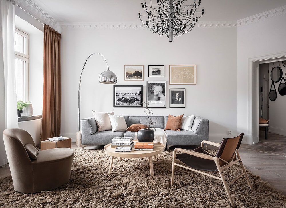 Stylish Swedish apartment in shades of beige and brown