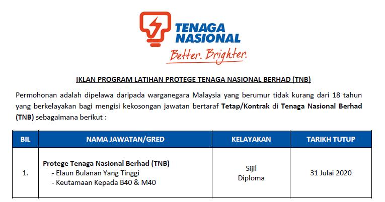 Permohonan Program Latihan Protege Tenaga Nasional Berhad Tnb Elaun Bulanan Yang Tinggi