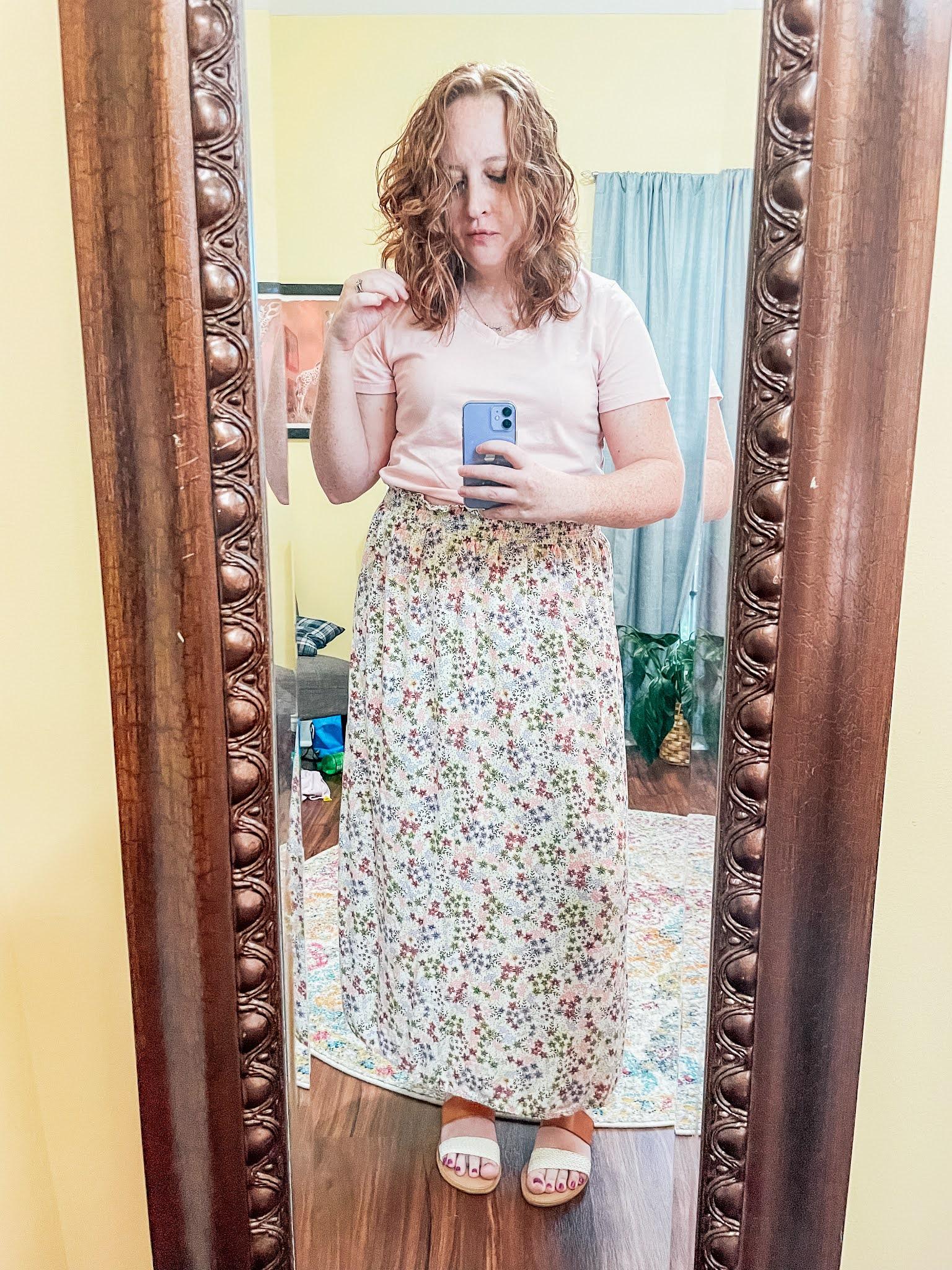 pink-tshirt-floral-maxi-skirt-sandals