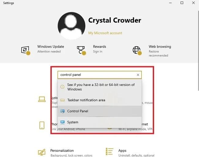 طرق لفتح لوحة التحكم في إعدادات Windows 10