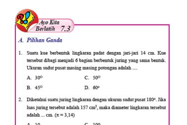 Pembahasan Ayo Kita Berlatih 7.3 Matematika Kelas 8 Hal 91-94 Bab 7 Lingkaran Semester 2