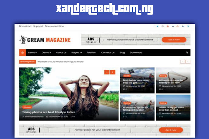 Download Free Cream Magazine WordPress theme