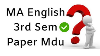 MA English 3rd Sem Question Papers 2018