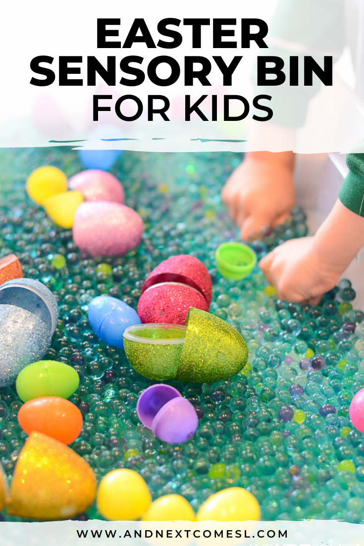 Easter sensory bin idea that's perfect for preschool and kindergarten aged kids