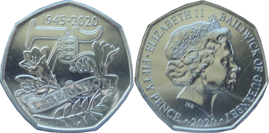 Guernsey 50 pence 2020 - 75th Anniversary of V. E. Day