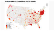 COVID-19 confirmed cases by US county