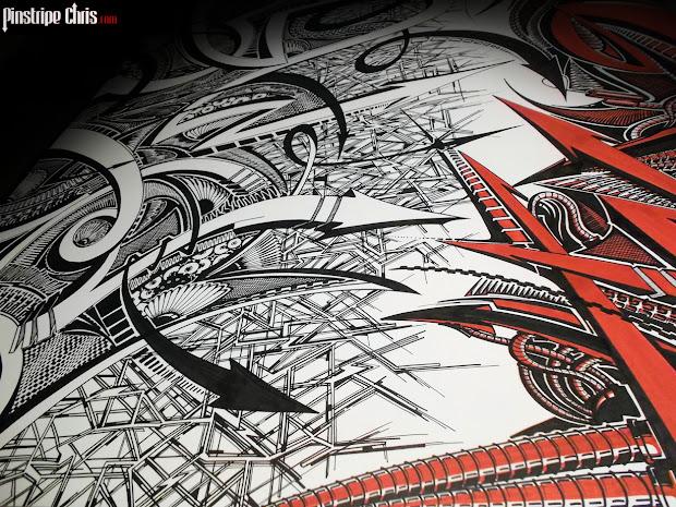 Pinstripe Chris Sharpie Art Piece Finshed &