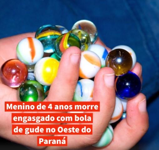Menino de 4 anos morre engasgado com bola de gude no Oeste do Paraná